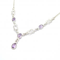 Cut amethyst silver necklace