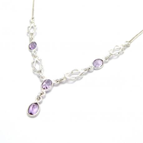 Cut amethyst silver necklace