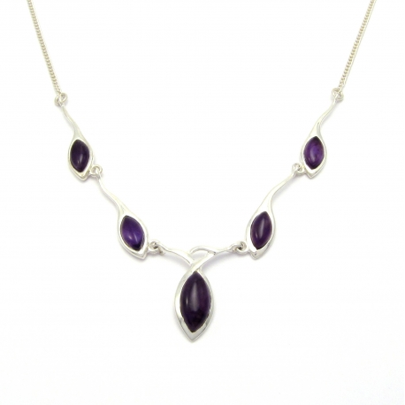 Amethyst stone silver necklace