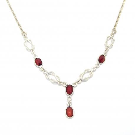 Cut garnet silver necklace