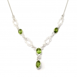 Peridot stone silver necklace