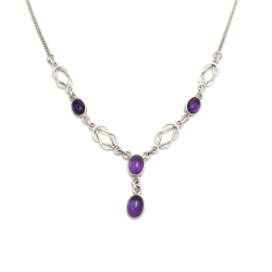 Purple amethyst silver knot necklace