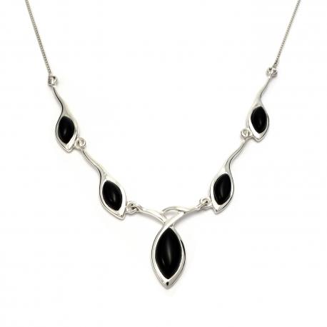 Black onyx stone silver necklace