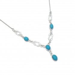 Turquiose silver knot necklace