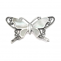 Mother of pearl butterfly silver brooch