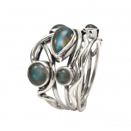 Polished labradorite silver ring