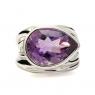 Tear drop cut amethyst silver ring