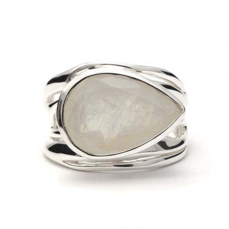 Tear drop cut moonstone silver ring