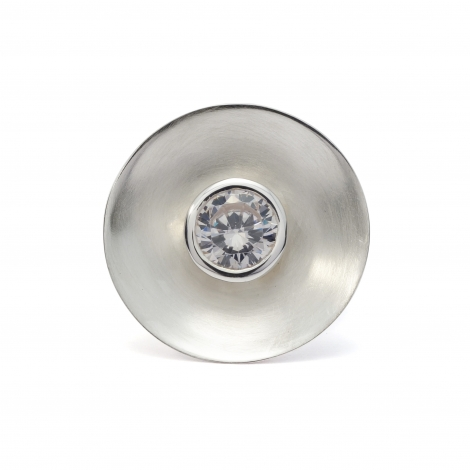 Brushed silver disc ring with CZ crystal