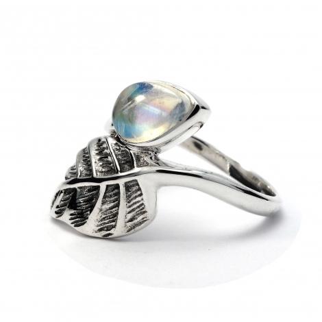 Moonstone silver leaf ring