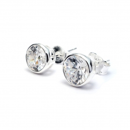 Quartz crystal round 8mm silver stud earring