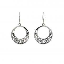 Celtic round silver hanging earrings