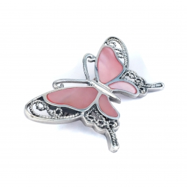 Pink mother of pearl butterfly silver brooch