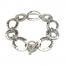 Oval beaten silver bracelet