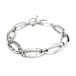 Long oval beaten silver bracelet