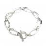 Long oval beaten silver bracelet
