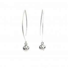 Silver hoop ball earring