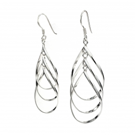 Three silver hoops hanging earring
