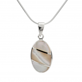 Oval mother of pearl silver pendant
