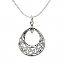 Celtic oval silver pendant