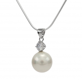 Pearl and CZ silver pendant