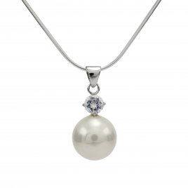 Pearl and CZ silver pendant