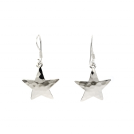 Beaten silver star hanging earrings