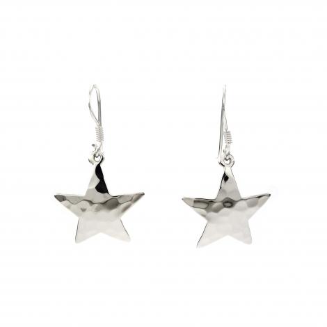 Beaten silver star hanging earrings