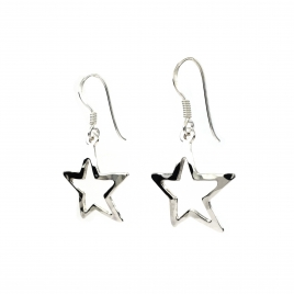 Beaten silver outline star hanging earrings