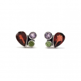 Multi-cut stone silver stud earrings