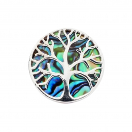 Abalone shell silver tree of  life ring