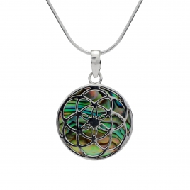 Abalone shell silver lotus flower pendant