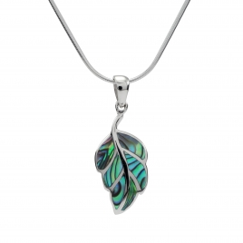 Abalone shell leaf shaped silver pendant