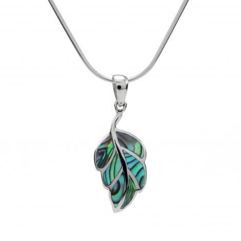 Abalone shell leaf shaped silver pendant