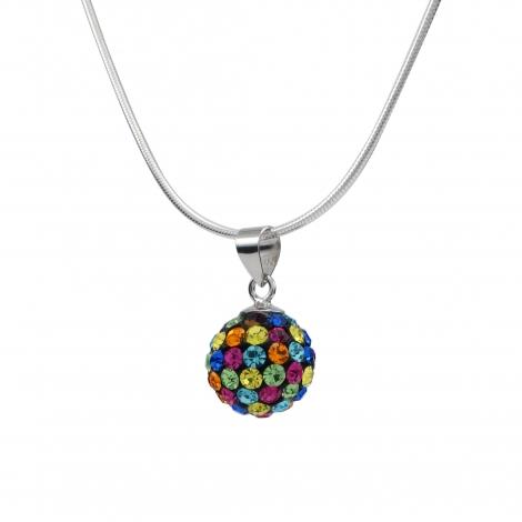 Multi-coloured disco ball silver pendant