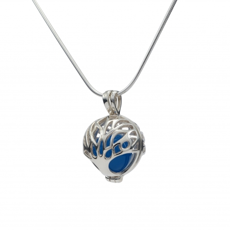 Tree of life silver ball pendant