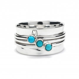 Silver cuff ring with turquoise