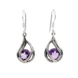 Detailed silver amethyst drop earrings