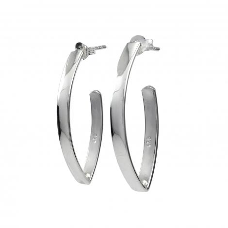 Flat hoop silver earring