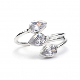 Dainty CZ silver ring
