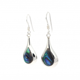 Bulbous abalone shell silver earrings