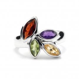Multi coloured cut stone silver ring