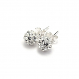 Clear crystal disco ball stud earrings