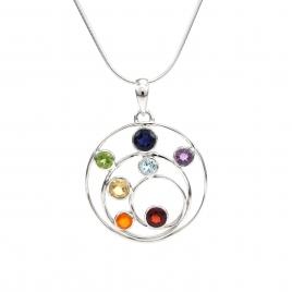 Multi-stone circular silver pendant