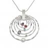 Multi-stone silver rings pendant