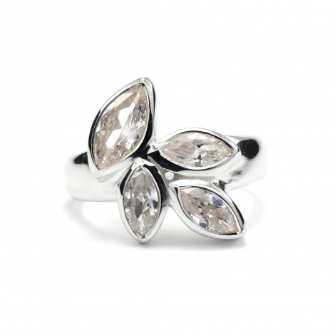 Cubic zirconia CZ silver ring