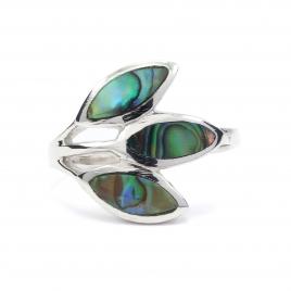 Three leaf abalone silver ring