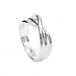 Three band crossover silver ring