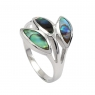 Three leaf abalone silver ring