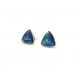 Triangular abalone silver stud earrings